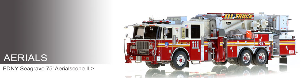 Aerial scale model fire trucks