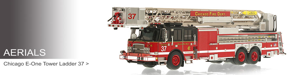 Shop museum grade Aerial scale models including Chicago Tower Ladder 37!