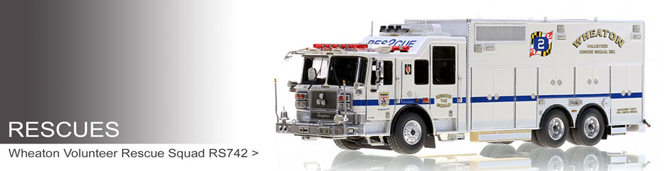 Shop Rescues scale model fire trucks including Wheaton RS742
