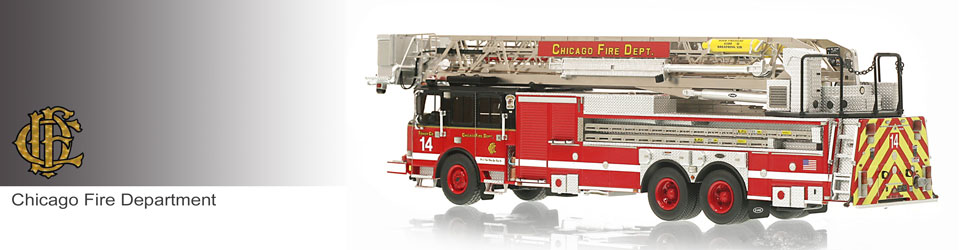 Shop museum grade Chicago scale models including Tower Ladder 14!