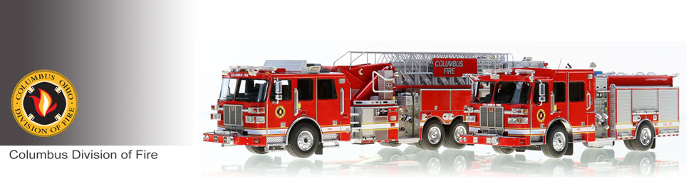 Shop scale model fire trucks from Columbus Division of Fire