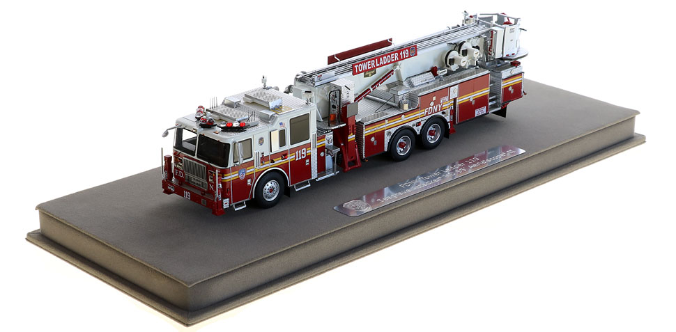 Tower Ladder 119 includes a fully custom display case.