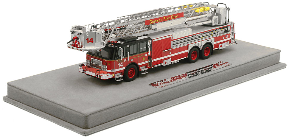 Chicago Tower Ladder 14 includes a fully custom display case!