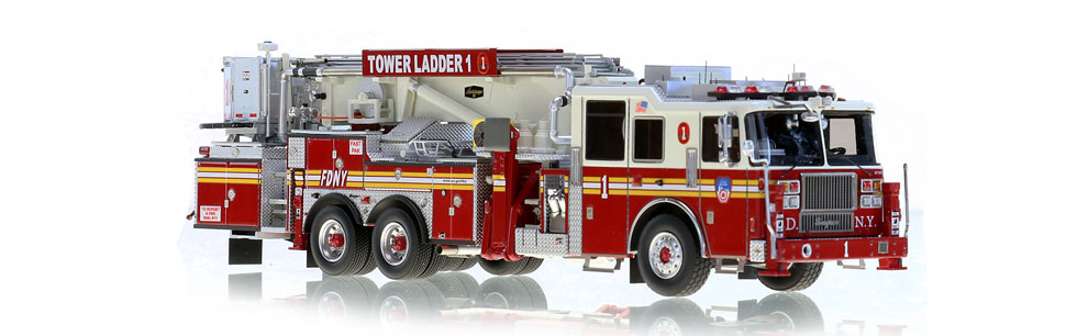 FDNY Tower Ladder 1 features hundreds of stainless steel parts.