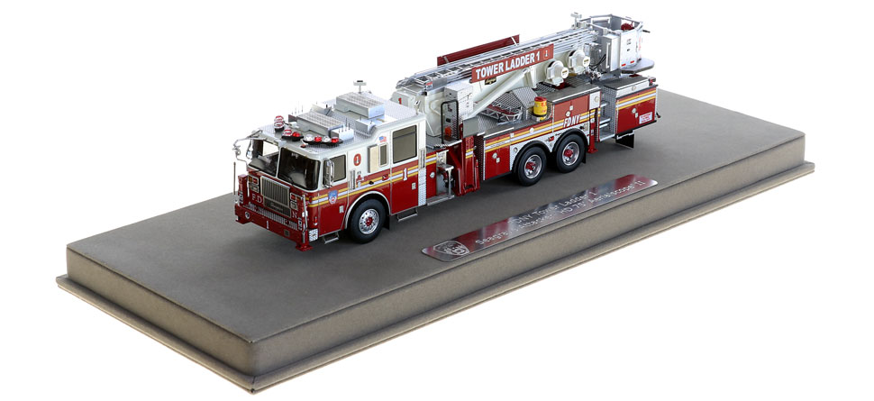 FDNY Tower Ladder 1 includes a fully custom display case.
