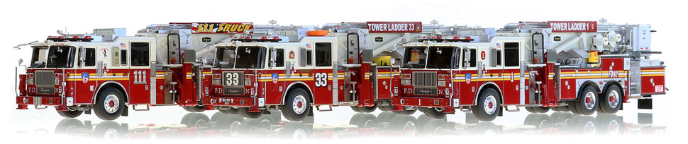FDNY Tower Ladders 1, 33 and 111