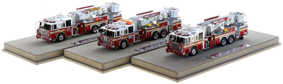 Each Tower Ladder includes a custom display case.