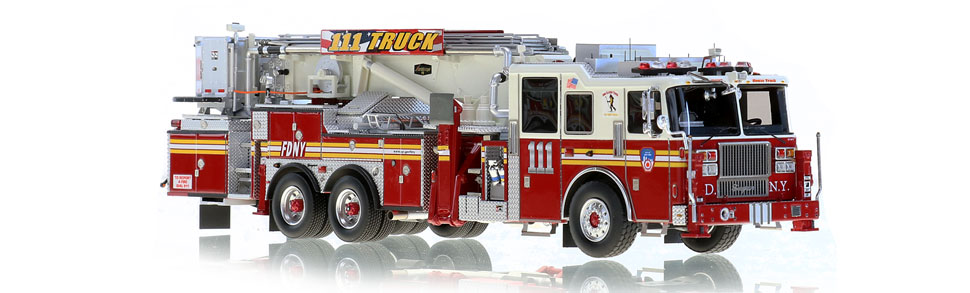 FDNY Tower Ladder 111 features hundreds of stainless steel parts.