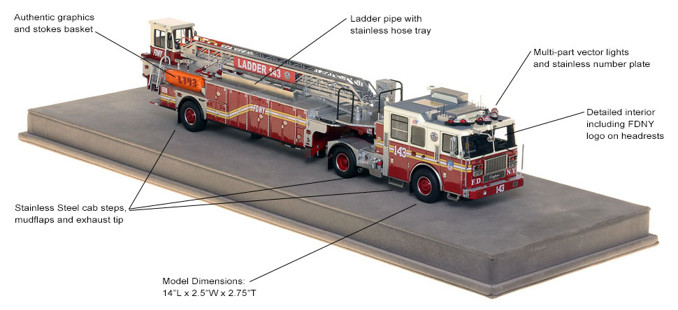 Specs and features of FDNY Ladder 143