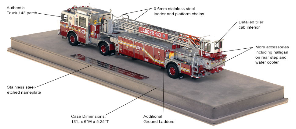 Features and specs of FDNY Ladder 143