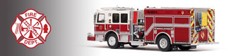 Demo/Stock unit scale model fire trucks.