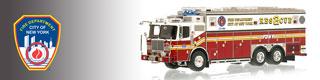 FDNY scale model fire trucks.