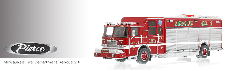 Shop museum grade Pierce scale models including Milwaukee Rescue 2!