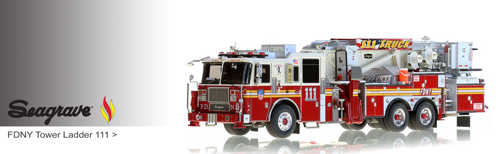 Seagrave scale models including Marauder II Aerialscopes for FDNY