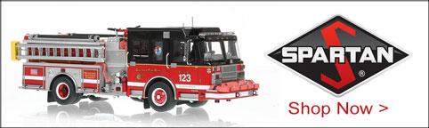 Shop museum grade Spartan scale model fire trucks